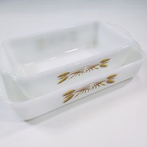 Vtg Pyrex Fire King Golden Wheat Casserole dishes